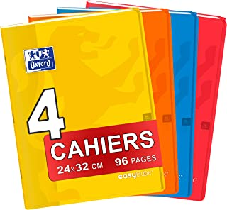 Oxford Set of 4 Easybook Notebooks 24 x 32 cm Large Squared Seyès 96 Pages Stapled 90 g Polypropylene Cover Assorted Colours