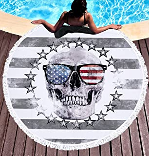 FLY SPRAY Oversized Thick Round Carpet Blanket with Tassels 59'' Indian Colorful Skull Head American Flag Pattern Water Absorbent Soft Microfiber Beach Towel Camping Picnic Vacation Mat Grey