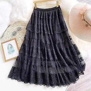ZJMIYJ Kjolar för kvinnor - vintage spets lappverk midikjol hög midja 3 lager veckade svarta nät skiktade kjolar vår damkl...
