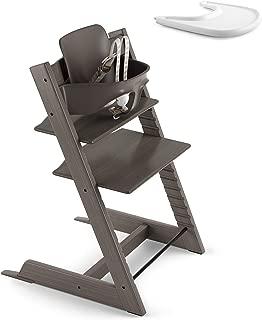 Stokke 2019 Tripp Trapp Hazy Grey High Chair & White Tray Bundle