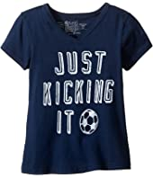 The Original Retro Brand Kids - Just Kicking It Short Sleeve V-Neck Tee (Big Kids)