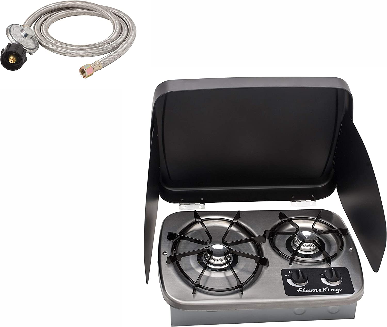 Flame King Max 64% OFF YSNHT600 2 Burner Stove Cooktop Built-In Propane RV online shop