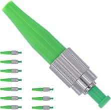 BEYONDTECH Fiber FC Connector - Fiber Optic Connector Kit Single Mode Simplex APC 0.9mm - 10 Pack Ceramic Ferrule Fiber Connectors