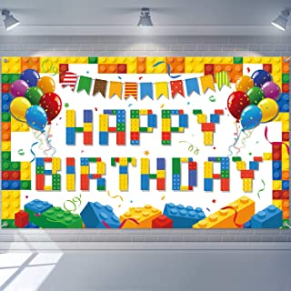 Colorful Building Blocks Birthday Backdrop Blocks Photography Birthday Backdrop Children's Birthday Party Decorations Buil...