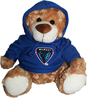 Mascot Factory DePaul Blue Demons Teddy Bear with Blue Hoodie Sweatshirt 9 Inches Tall, Brown