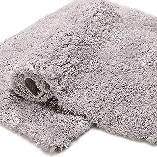 Bonzy Home Bathroom Rug Non Slip Bath Mat 32 x 20inch Water Absorbent Soft Microfiber Shaggy Bathroom Mat Machine Washable Bath Rug for Bathroom Thick Plush Rugs for Shower 1pc (Gray)