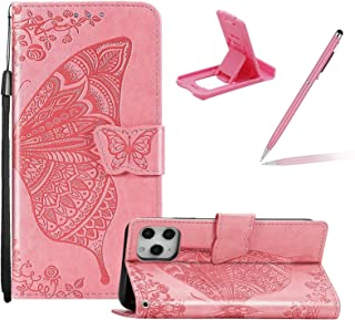 """Strap Leather Case for iPhone 12 Pro/12 6.1"""",Wallet Cover for iPhone 12 Pro/12 6.1"""",Herzzer Classic 3D Pink Butterfly Flow..."""