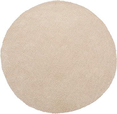 Beliani - Tapis Rond - Demre - 140 cm, en Polyester et Coton, Poil Long, Beige Clair