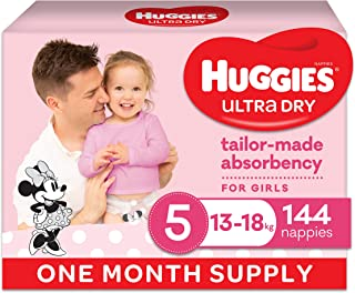 Huggies Ultra Dry Nappies, Girls, Size 5 Walker (13-18kg), 144 Count, One Month Supply, (Packaging May Vary)