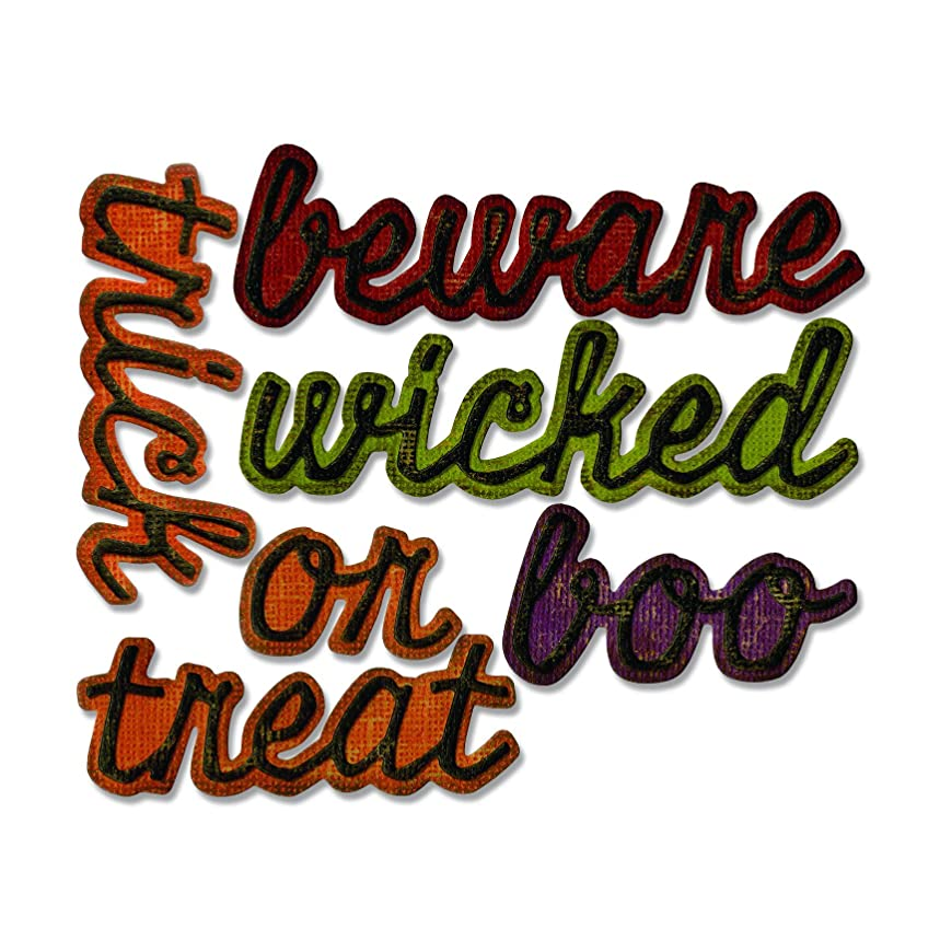 Sizzix 663093 Thinlits Dies Shadow Script Halloween by Tim Holtz, 12-Pack, us:one Size, Multicolor