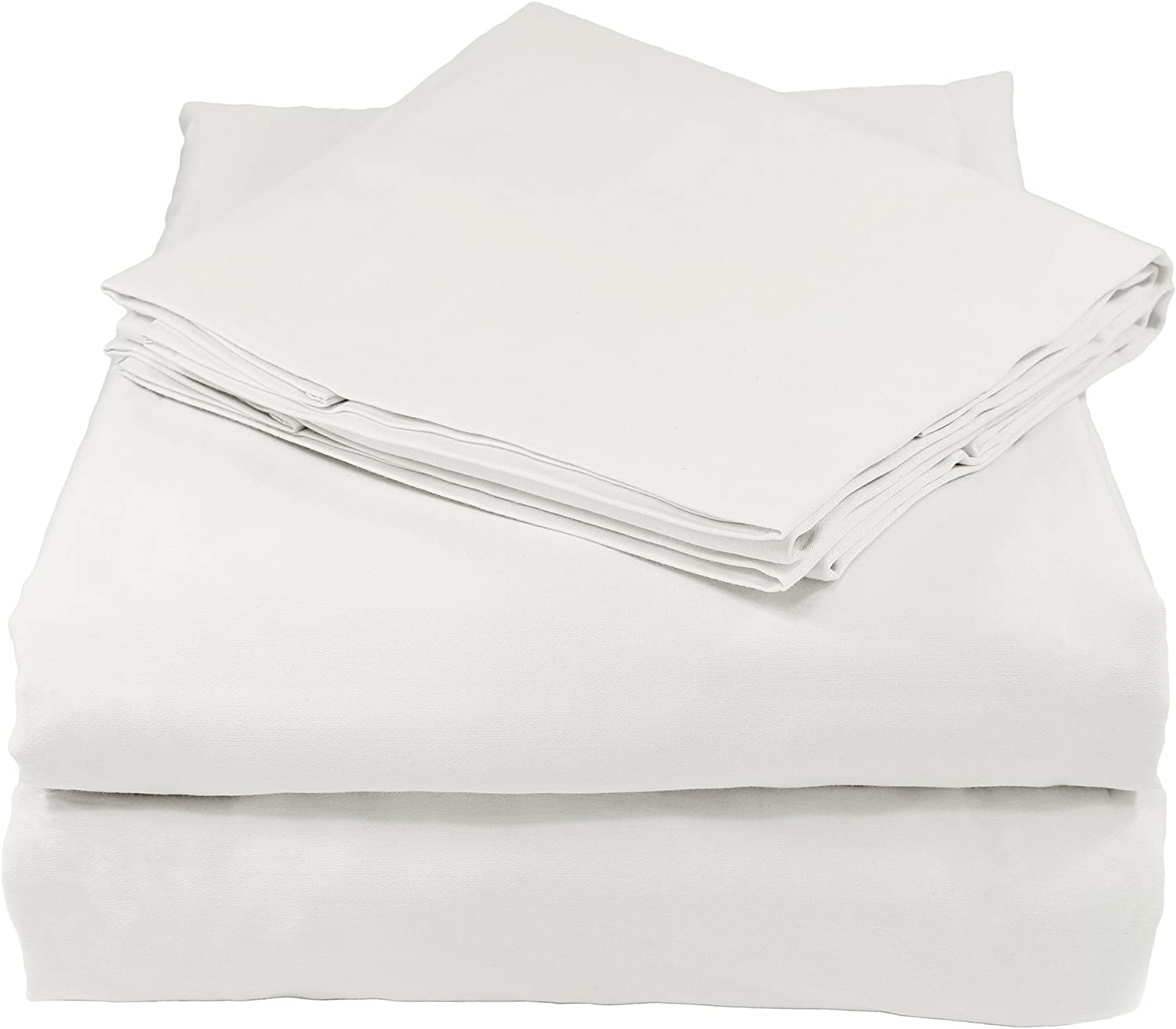 Whisper Organics Bed Sheets, Organic 100% Cotton Sheet Set, 400 Thread Count, 4 Piece  Fitted Sheet, Flat Sheet + 2 Pillowcases, Full, White
