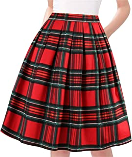 Taydey A-Line Pleated Vintage Skirts for Women