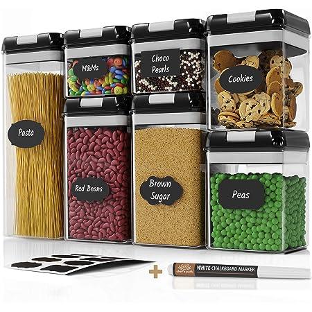Lot de 7 boîtes hermétiques Chef's Path — Boîtes de conservation alimentaire pour rangement de la cuisine — En plastique transparent — Couvercles durables et résistants — Étiquettes et marqueur craie