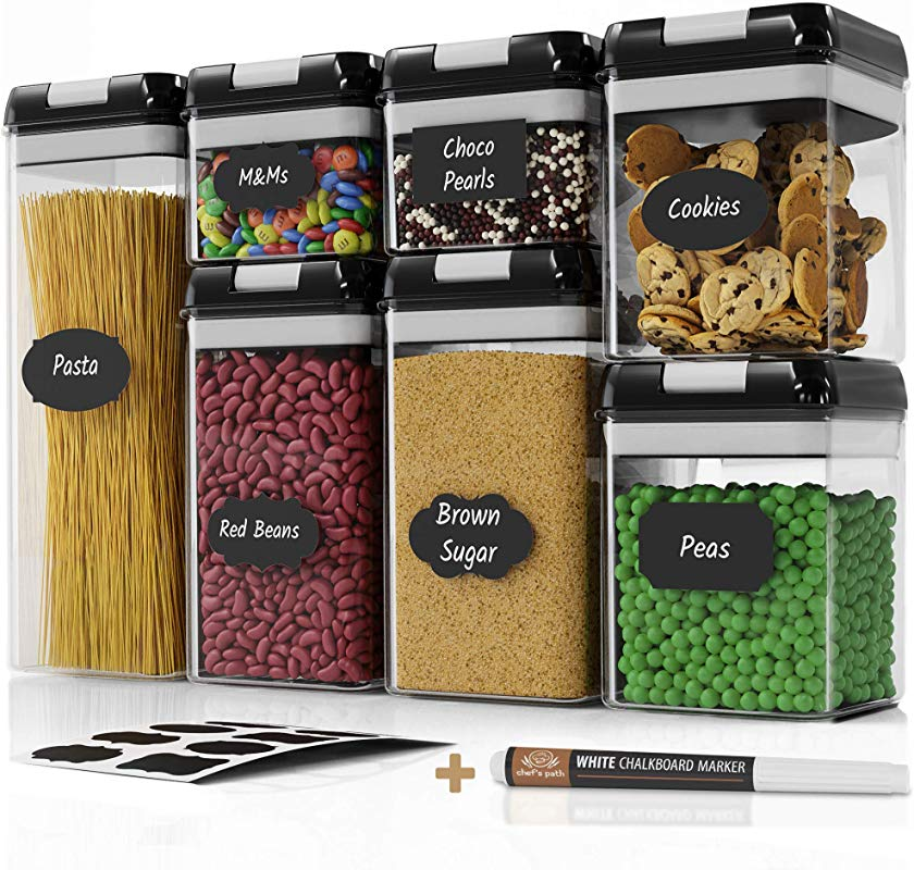 Chef S Path Airtight Food Storage Container Set 7 PC Set 10 Chalkboard Labels Marker Kitchen Pantry Containers BPA Free Clear Plastic Canisters With Improved Durable Lids