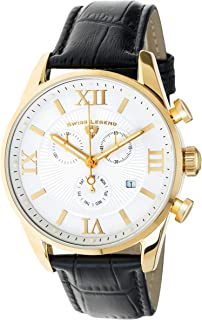 Men's Belleza Analog Swiss Quartz Watch Gold Stainless Steel with Black Leather Strap 22011-YG-02-BLK