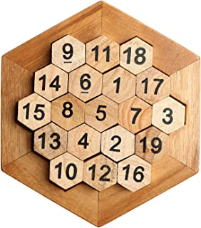 Bright Sport Wooden Digital Platter Puzzle,Classical Puzzle Toys Brain Teaser Wooden Hexagon Digital Puzzle Toys,Digital Game Number 19 Sum Equal to 38 Math Board Game Toy for Kids and Adults