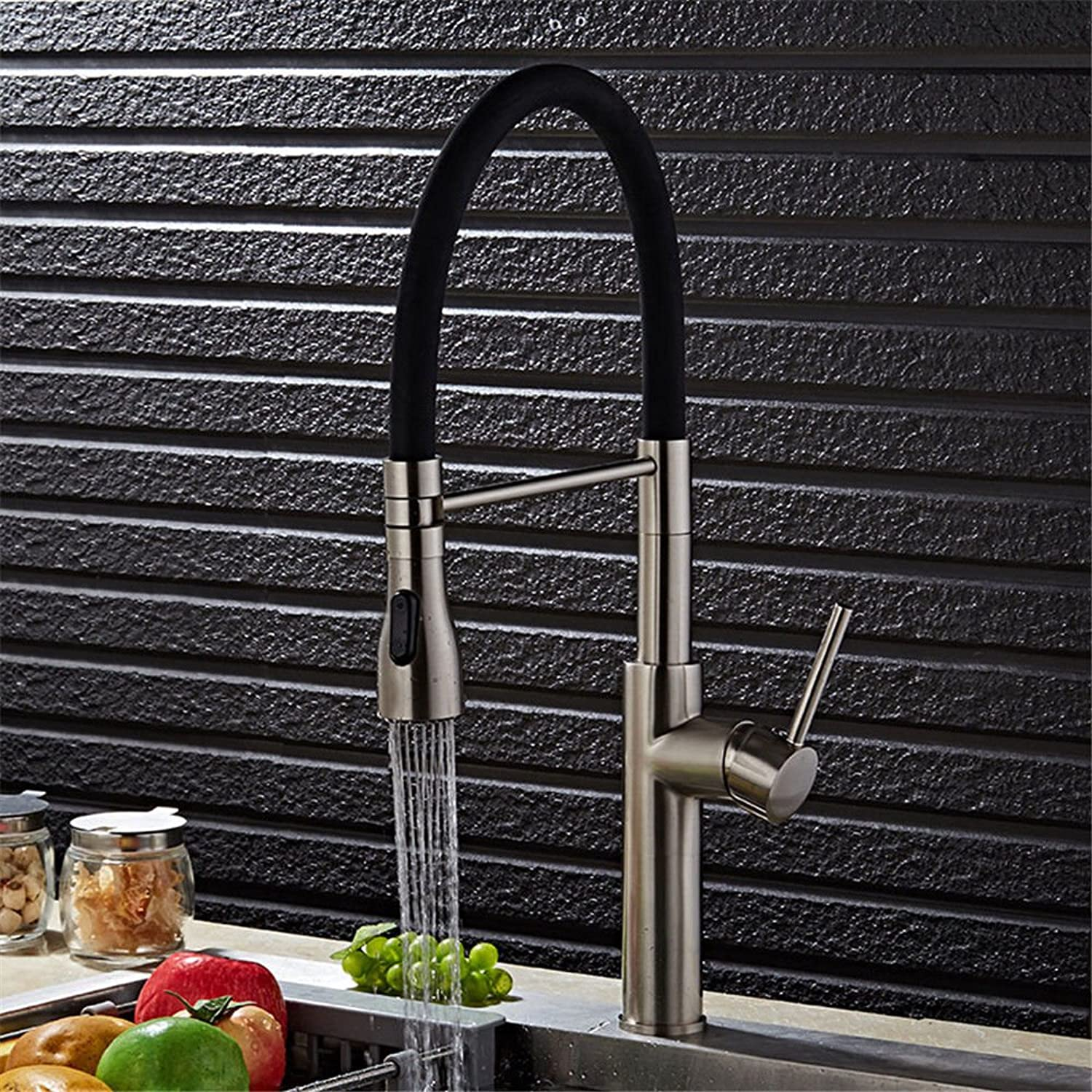 Kitchen Faucet Sink Mixer taps s Telescopic Brushed Silver Sink Faucet with Pull-Out spout spout redating Head hot and Cold Sink Mixer Sink Faucet