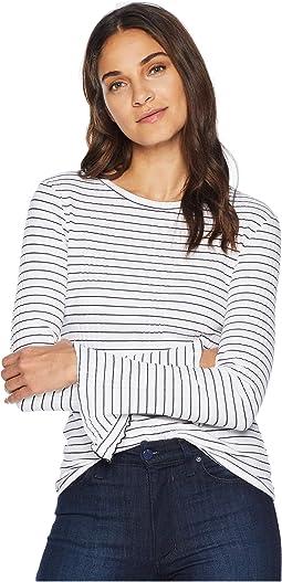Rachel Stripe Flutter Sleeve Top