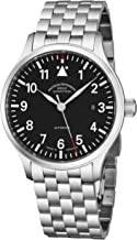 Muhle Glashutte Terrasport II Mens Automatic Pilot Watch - 40mm Black Face with Luminous Hands, Date and Sapphire Crystal - Stainless Steel Band Precision Watch Made in Germany M1-37-44 MB