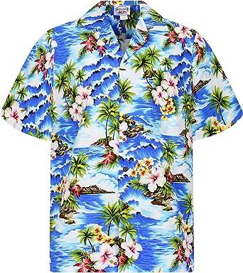 Pacific Legend   Original Camisa Hawaiana   Caballeros   S - 4XL   Manga Corta   Bolsillo Delantero   Estampado Hawaiano   Ondas   Palmeras   Flores   ...