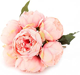 7 Heads Artificial Flowers Pink Peony Silk 3 Leaves Vintage Home Decoration Party Wedding Bouquet
