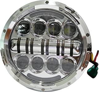 Wisamic 7 inch 80W Motorcycle LED Headlight Angle Eyes with Amber Signal Halo DRL Halo Compatible with Street Glide Road King Ultra Classic Electra Tri CVO Heritage Softail Deluxe Fatboy-Silver