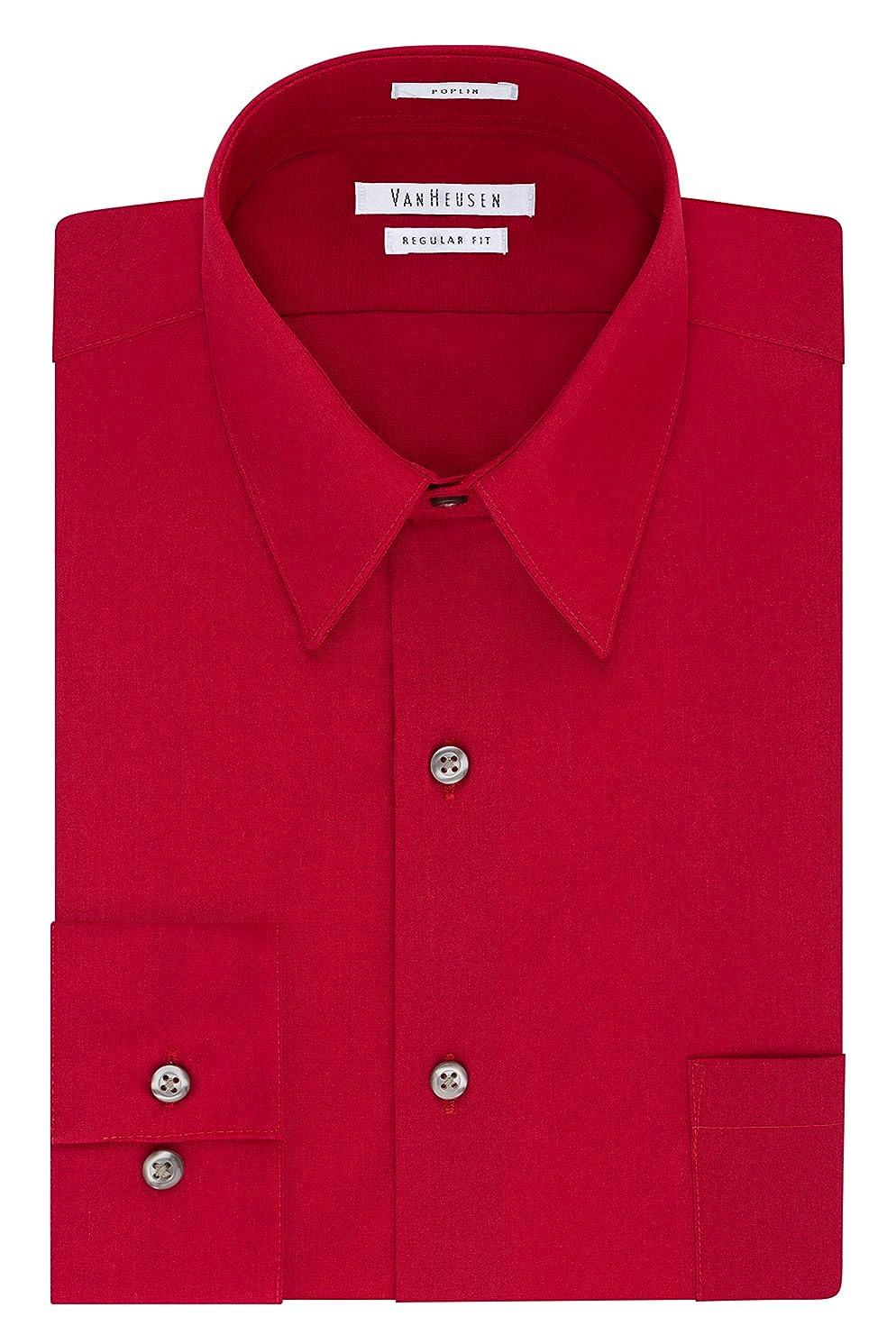 Van Heusen Men's Dress Shirt Regular Fit Poplin Solid