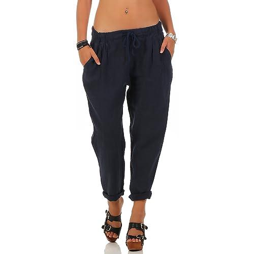 Malito Pantaloni di Svago Panno di Lino da con Fascia Elastica 6816 Donna