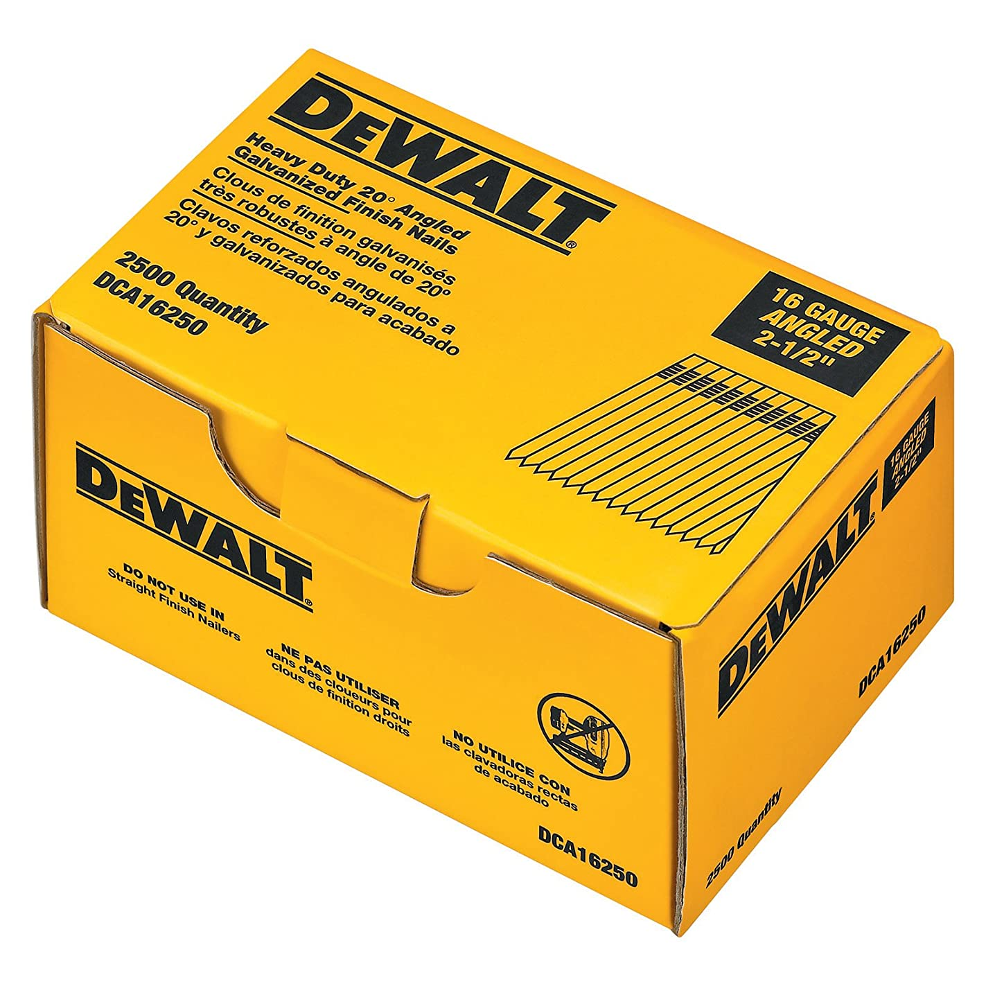 DEWALT DCA16250 2-1/2-Inch by 16 Gauge 20-Degree Finish Nail (2,500 per Box)