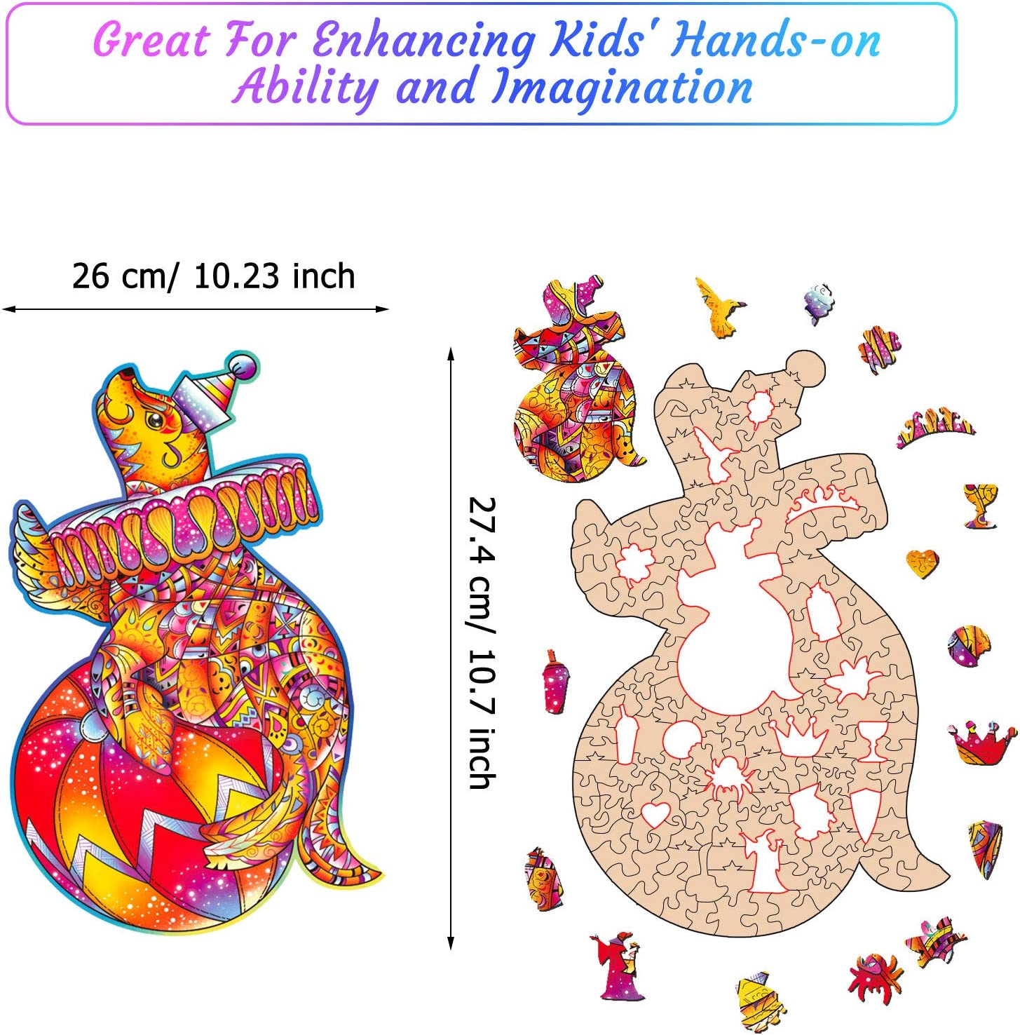Family Game Play Collection for Christmas Valentines Day 6.5 x 11.3 Inches Rabbit Wooden Jigsaw Puzzles Animal Shape Wood Puzzle for Adults Kids