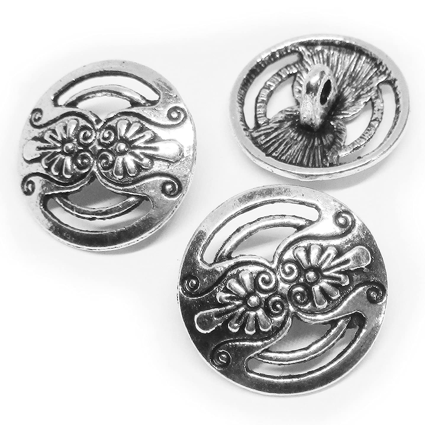 Heather's cf 50 Pieces Silver Tone Hollow Carved Buttons Beads DIY Charms Pendants 17mm