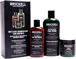 Brickell Men's Daily Advanced Face Care Routine II, Activated Charcoal Facial Cleanser, Face Scrub, Face Moisturizer Lotio...