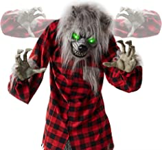 Best Choice Products 5ft Animatronic Werewolf Halloween Decor, Howling Hudson Standing Poseable Halloween Decoration w/Pre Recorded Phrases, LED Glowing Eyes, Adjustable Arms