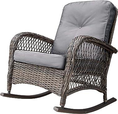 Corvus Salerno Outdoor Wicker Rocking Chair with Cushions with Cushions, Rocking Chairs, Wicker Chairs Grey Metal, Wicker, Fabric