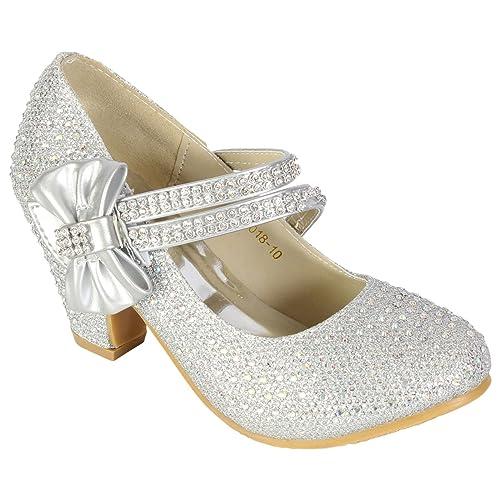 20b01ad703ad MyShoeStore Girls Wedding Shoes Kids Children Bridesmaid Prom Diamante  Strappy Mary Jane Style Court Shoe Block