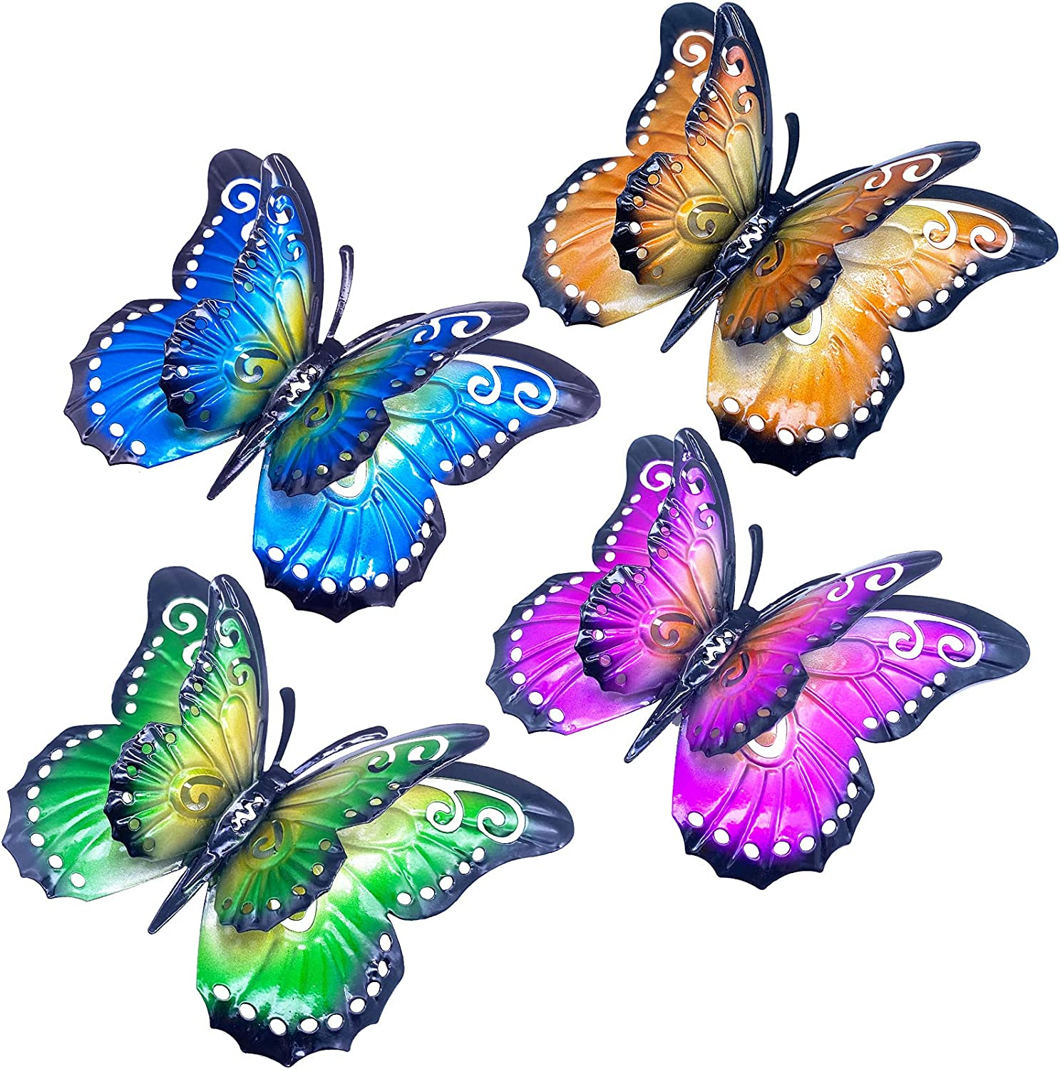 Daogtc Metal Butterfly Wall Decor, 6.5in 3D Metal Butterfly Art Hanging Decoration for Outdoor or Indoor, Decorate Garden,Yard,Patio,Fence ,Living Room, Bedroom (4 Pack)