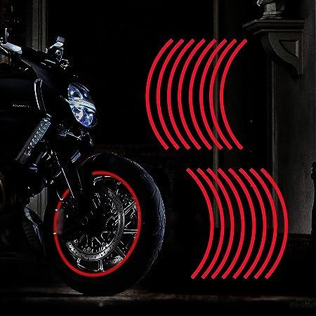 F FIERCE CYCLE 18pcs 12 Wheel Rim Waterproof Reflective Strips for Motorcycle Car Bike