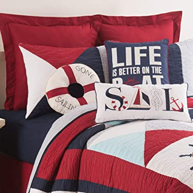 C&F Home Better On The Boat Pillow Nautical Ocean Decorative Throw Pillow for Couch Chair Living Room Bedroom 18 x 18 Blu