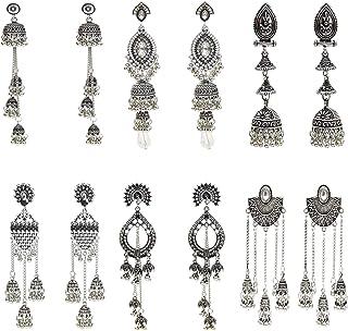 6 Pairs Indian Jhumka Jhumki Ethnic Dangle Earring Sets for Women Vintage Silver Gold Long Tassel Bell Drop Earrings Boho ...