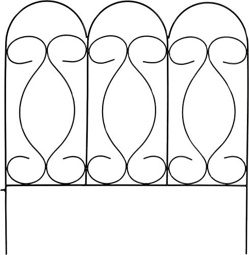 high quality Sunnydaze 5 Piece Traditional sale Border sale Fence Set, Decorative Metal Garden Fencing, 24 Inches x 24 Inches Wide Each Piece, 10 Feet Overall - Black sale