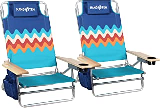 Beach Chairs Lightweight (2-Pack) Backpack Camping Chair Folding 5-Position Layflat Portable Arm Chairs with Towel Bar, Supports 250 LBS