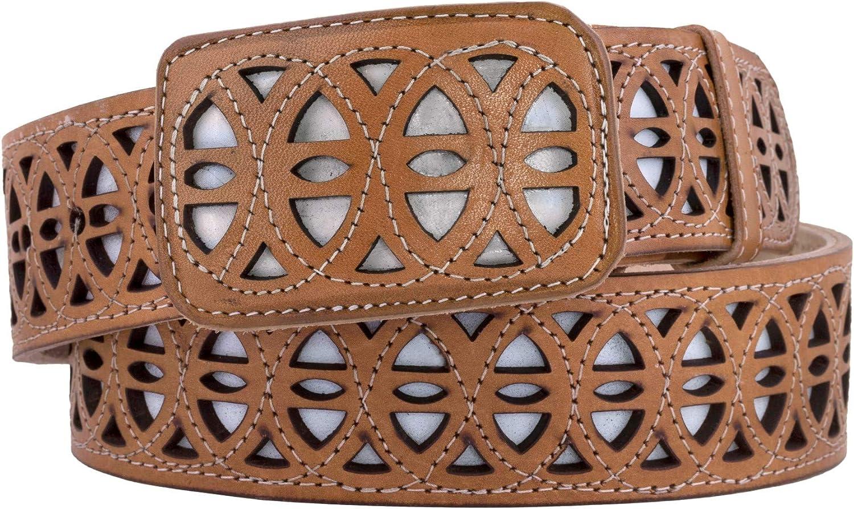 El Presidente - Mens Light Overseas parallel import regular item Brown Sale Belt Cowboy Western Overlay Squ