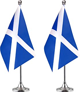 ALEY Scotland Desk Flag Small Mini Scottish Office Table Flag with Stand Base,Scottish Themed Party Decorations Celebration Event,2 Pack