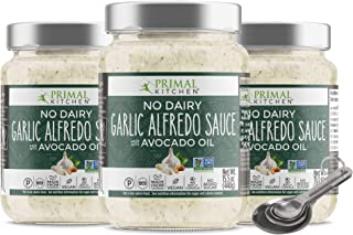 [Pack of 3] [Free Measuring Spoon] Primal Kitchen Non Dairy Garlic Alfredo Sauce, Made With Avocado Oil - 16 Fl Oz
