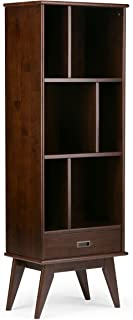 Simpli Home Draper SOLID HARDWOOD 64 inch x 22 inch Mid Century Modern Bookcase, Bookshelf and Storage Unit in Medium Auburn Brown with 6 Shelves, for the Living Room, Study and Office