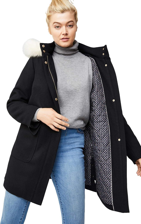 ellos Women's Plus Size Side-Snap Wool Parka Coat