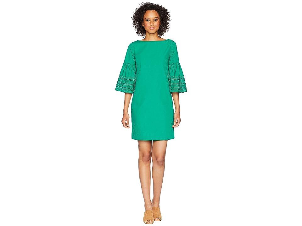 LAUREN Ralph Lauren Poplin Shift Dress (Tropical Green) Women