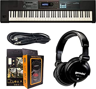 Roland PK 88-key JUNO-DS88 Weighted-action Keyboard with Pro Sounds + ISK HP2000 Headphone w/Free 3.5mm AUX Cable & Magnet Car Mount