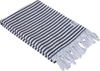 InfuseZen Turkish Towel - Thin and Absorbent Peshtemal Beach Bath Towels - 100% Cotton Oversized Hammam Fouta - XL 71 inches x 37 inches Lightweight Pool, Gym Travel Towel, Terry Cloth Backing (Black)