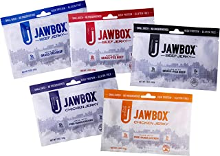 Jawbox Jerky Grass-Fed Beef Jerky and Free-Range Chicken Jerky Variety Pack of 5 - Original, Peppered and Spicy Beef and Buffalo and Korean BBQ Chicken (1.5 oz)